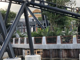 Crews continue to work toward an anticipated 2021 opening for the Jurassic Park coaster attraction. Additional foliage has been added along with a new kiosk structure. Subscribe now to Hollywood Studios HQ to assure you receive all the latest Universal Studios Orlando updates. Photo by John Capos