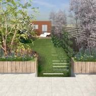 terras met plantenbakken