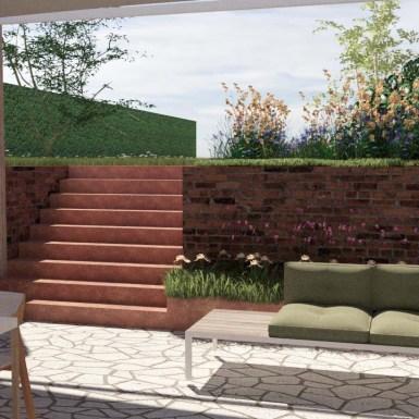 trap en plantenbakken in cortenstaal