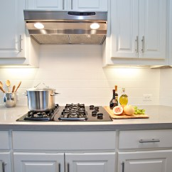 White Kitchen Cabinets And Backsplash Bay Window Over Sink Subway Tile