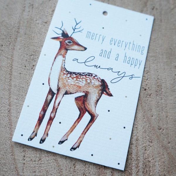 minikaart rendier cadeaulabel