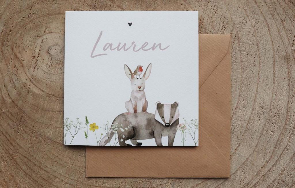 Geboortekaartje-konijntje-bloemen