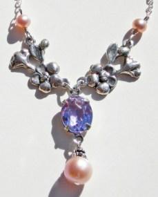 Margarita, Alexandrite Floral Pearl Drop Necklace
