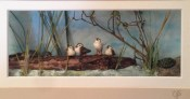 Carol Schmedinghoff, Wood Ducklings, hand carved duckling, turtles scuplted from clay set in pond scene