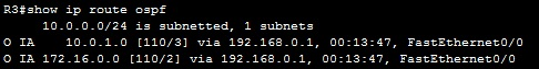 show ip route ospf areas 3