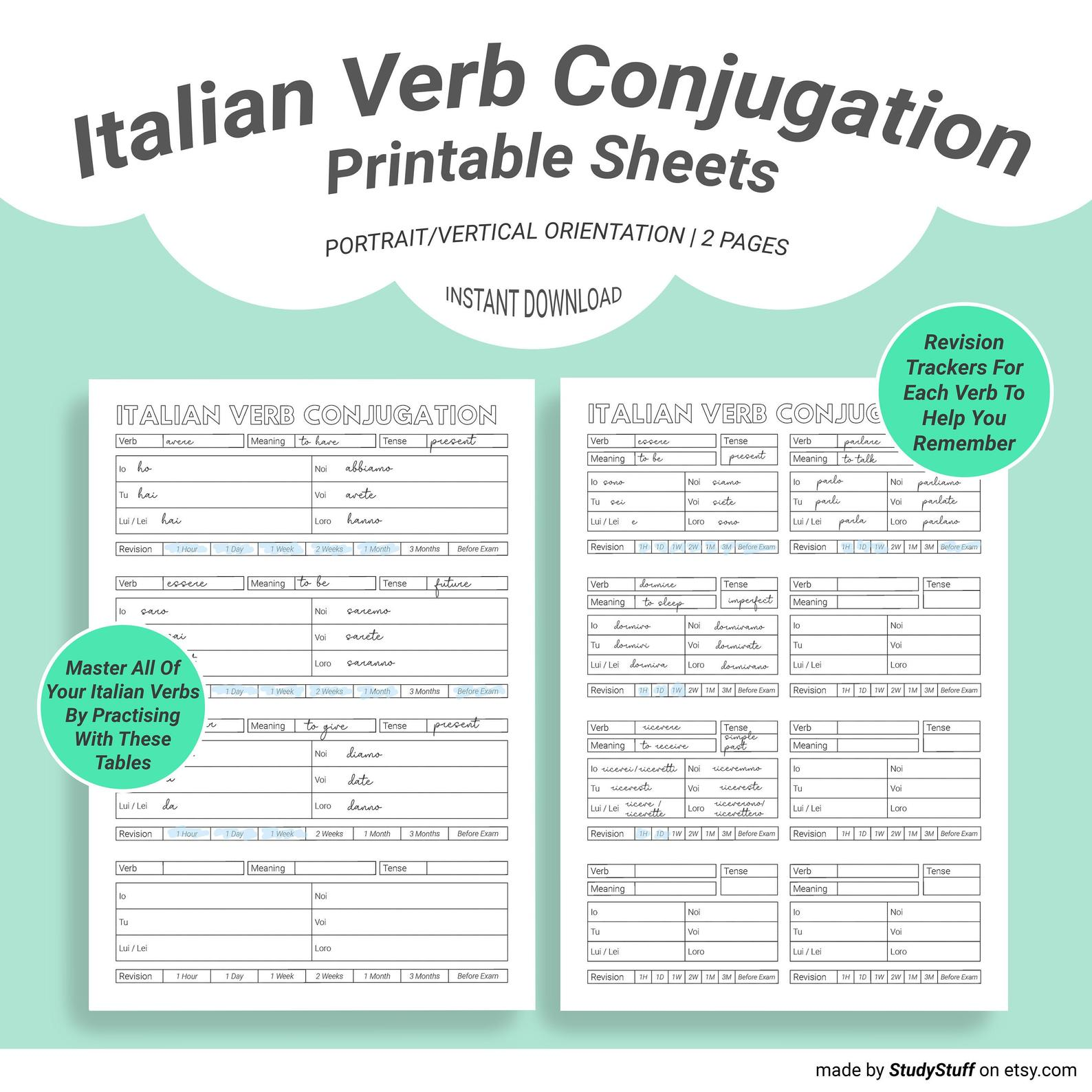 Use This Conjugation Worksheet To Master Your Italian