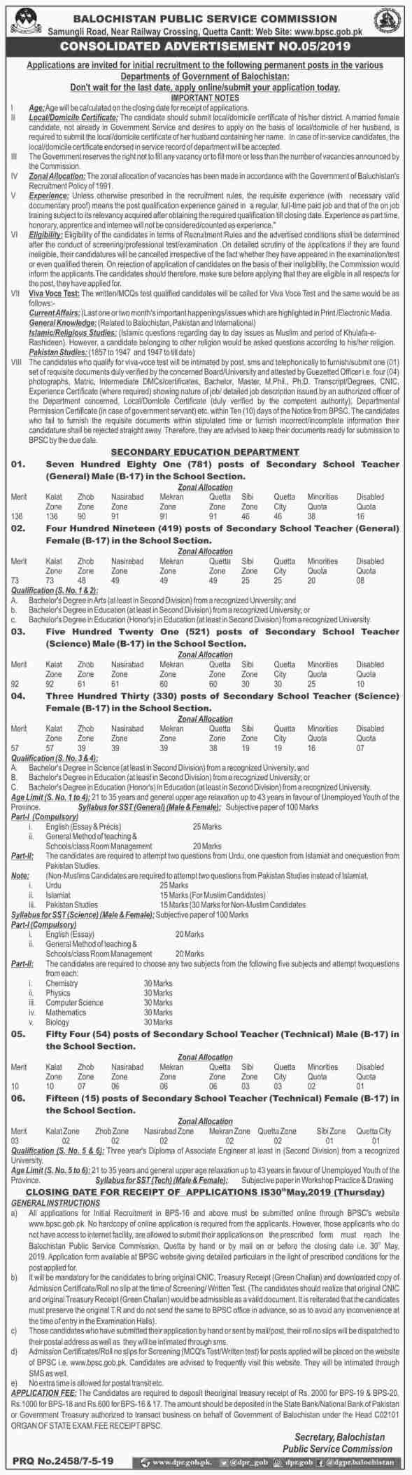 Secondary Education Department Balochistan BPSC Jobs 2019 Apply Online