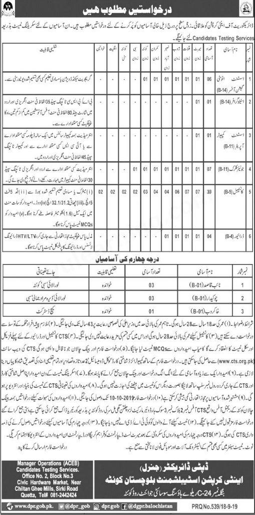 Anti Corruption Balochistan Constable Jobs 2019 CTS Application Form