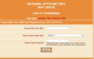 NAT Test February 2021-ll NTS Roll Number Slip Download Online