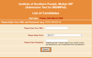 ISP Multan Admission NTS Roll Number Slip 2020