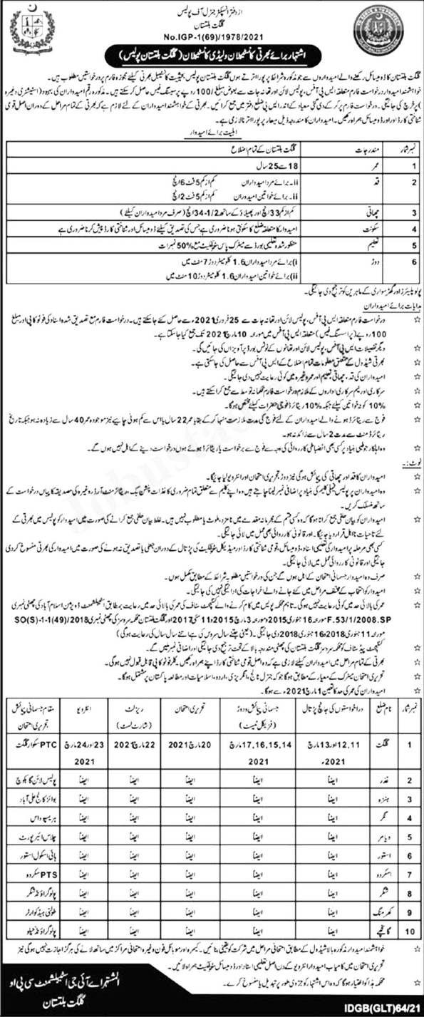 GB Police Constable/Lady Constable Jobs 2021 Application Form Test Schedule Merit List