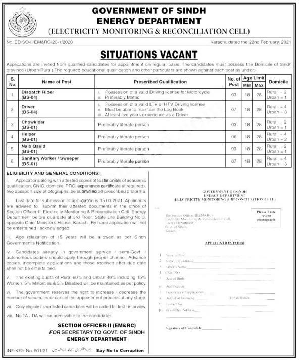 Energy Department Sindh Jobs 2021 Application Form Eligibility Criteria Merit List