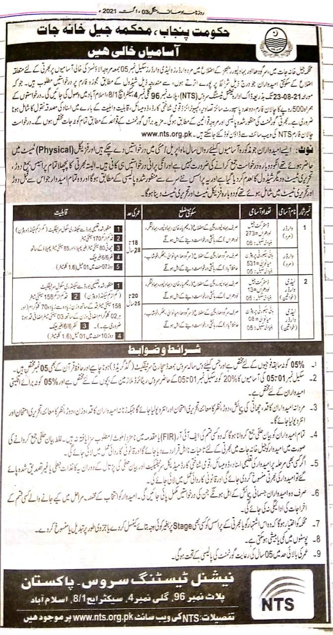 Punjab Prison Department NTS Jobs 2021 Online Application Form Roll No Slips
