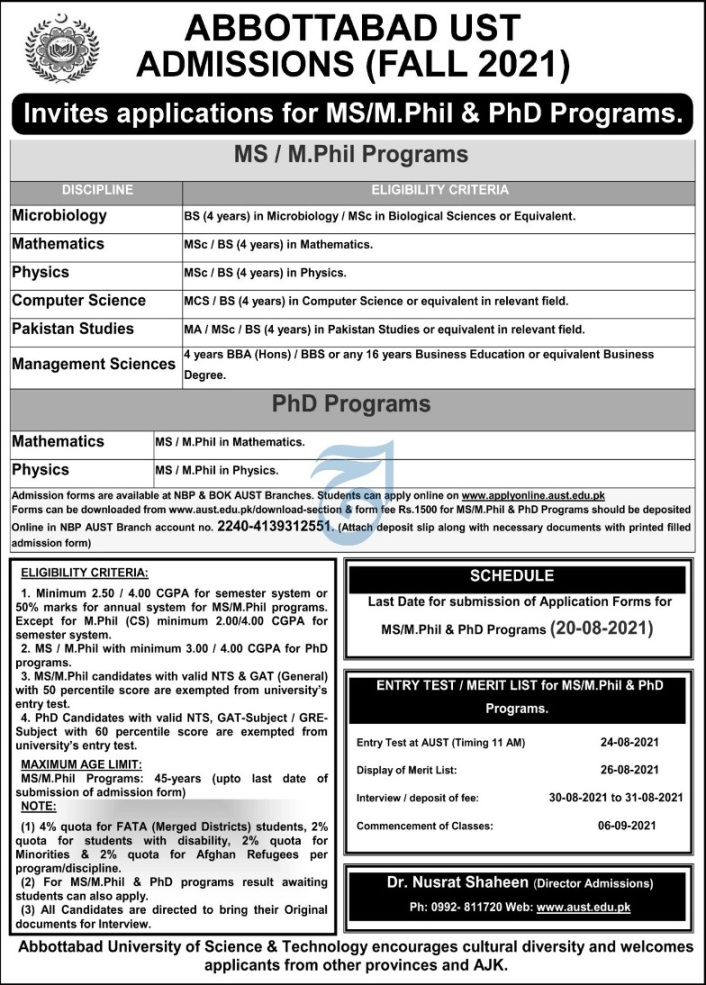 AUST MS/M.Phil and PhD Programs admissions 2021 Registration Online