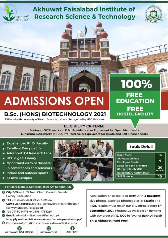 Akhuwat First Faisalabad BSc (Hons) Admission 2021 Registration Online Criteria
