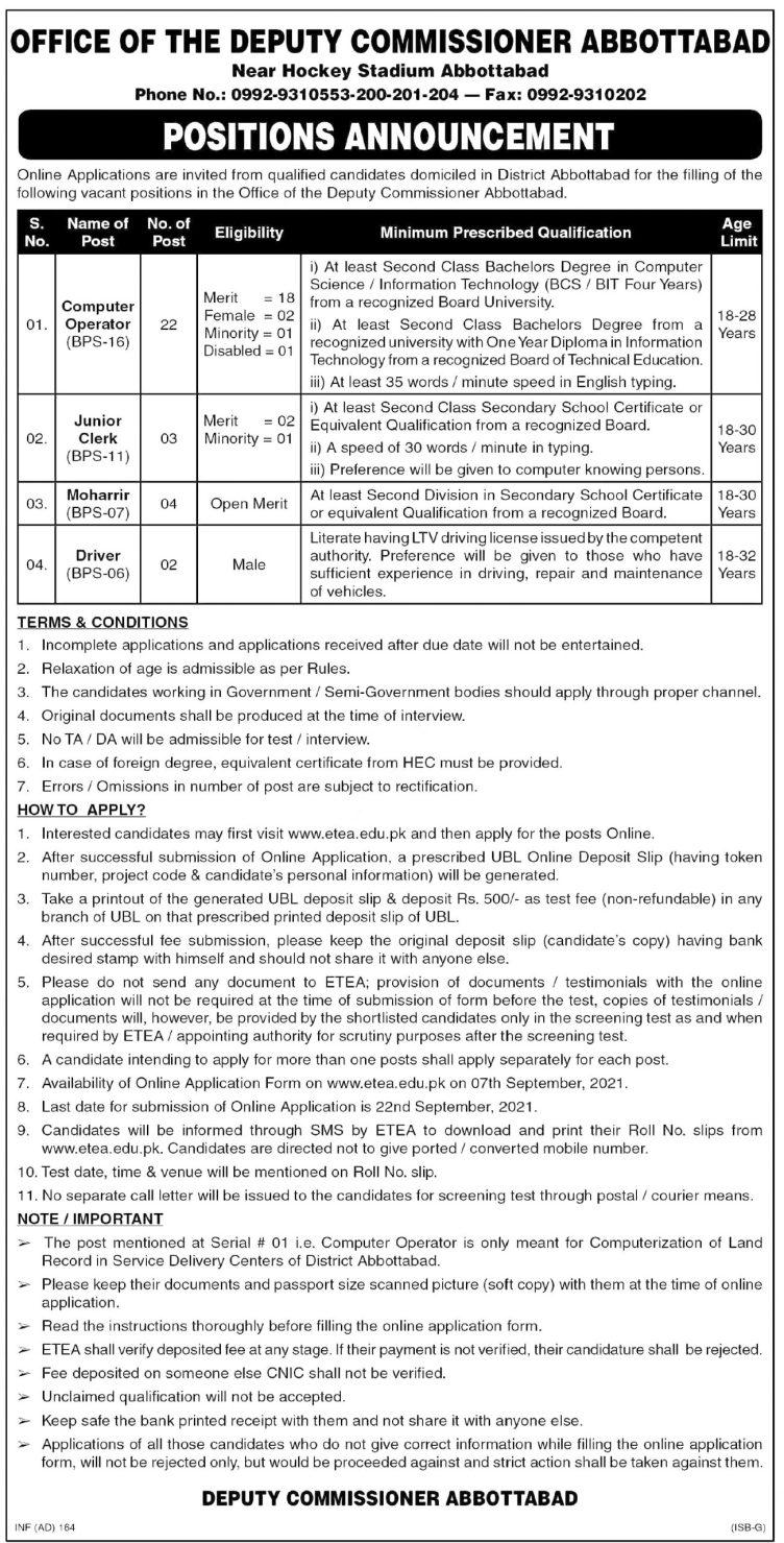 Deputy Commissioner Abbottabad ETEA Jobs 2021 Online Registration Forms