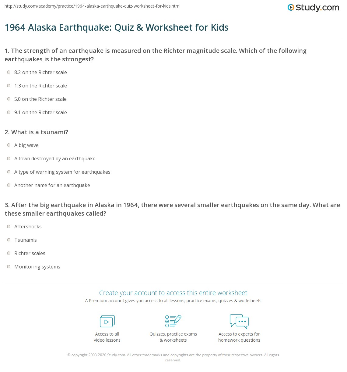 Alaska Earthquake Quiz Amp Worksheet For Kids