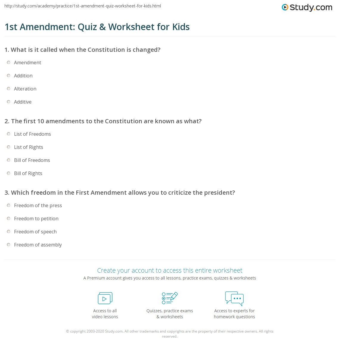 1st Amendment Quiz Amp Worksheet For Kids