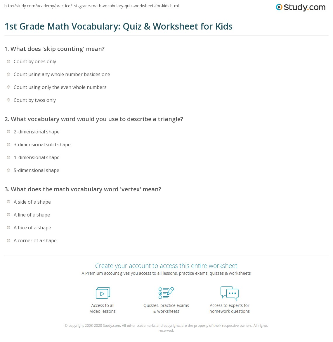 hight resolution of 1st Grade Math Vocabulary: Quiz \u0026 Worksheet for Kids   Study.com
