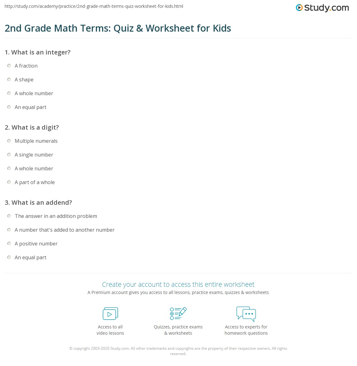 hight resolution of 2nd Grade Math Terms: Quiz \u0026 Worksheet for Kids   Study.com