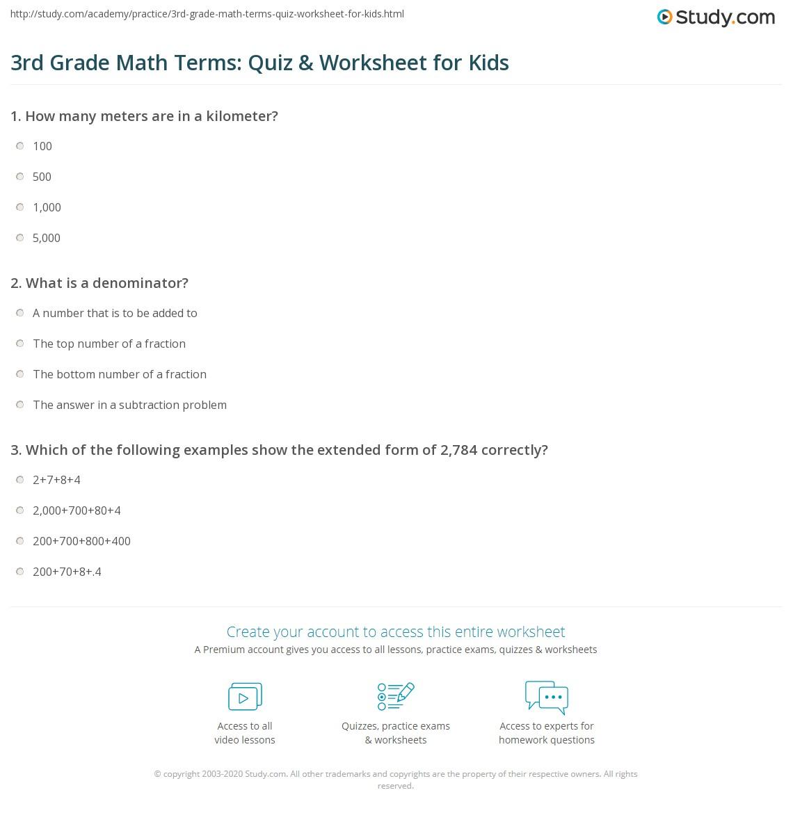 hight resolution of 3rd Grade Math Terms: Quiz \u0026 Worksheet for Kids   Study.com