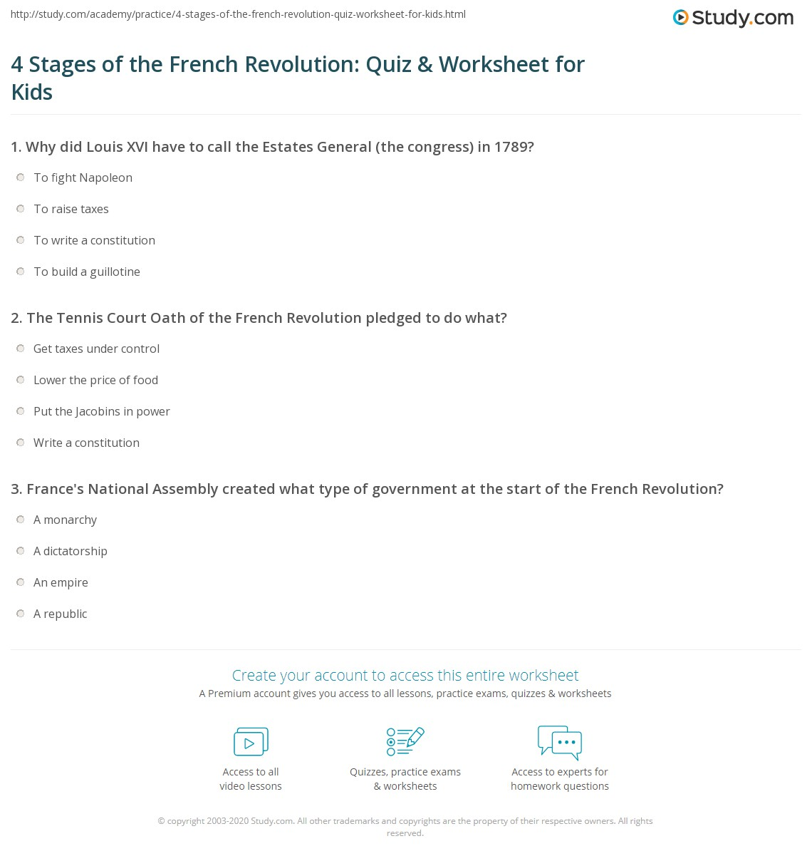 4 Stages Of The French Revolution Quiz Amp Worksheet For