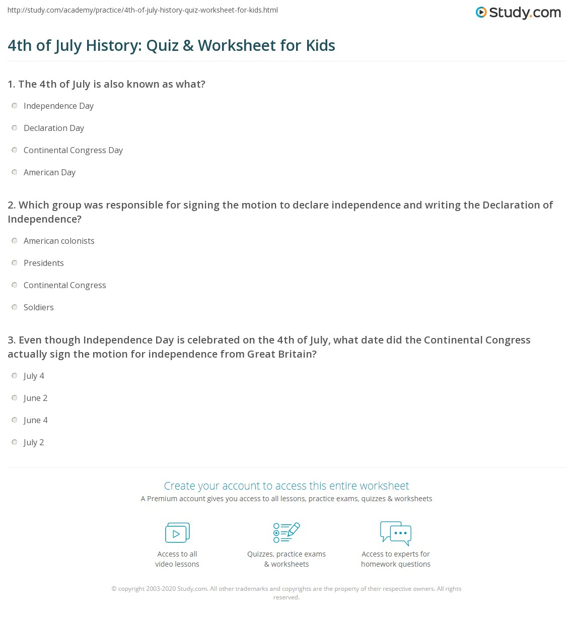 4th Of July History Quiz Amp Worksheet For Kids