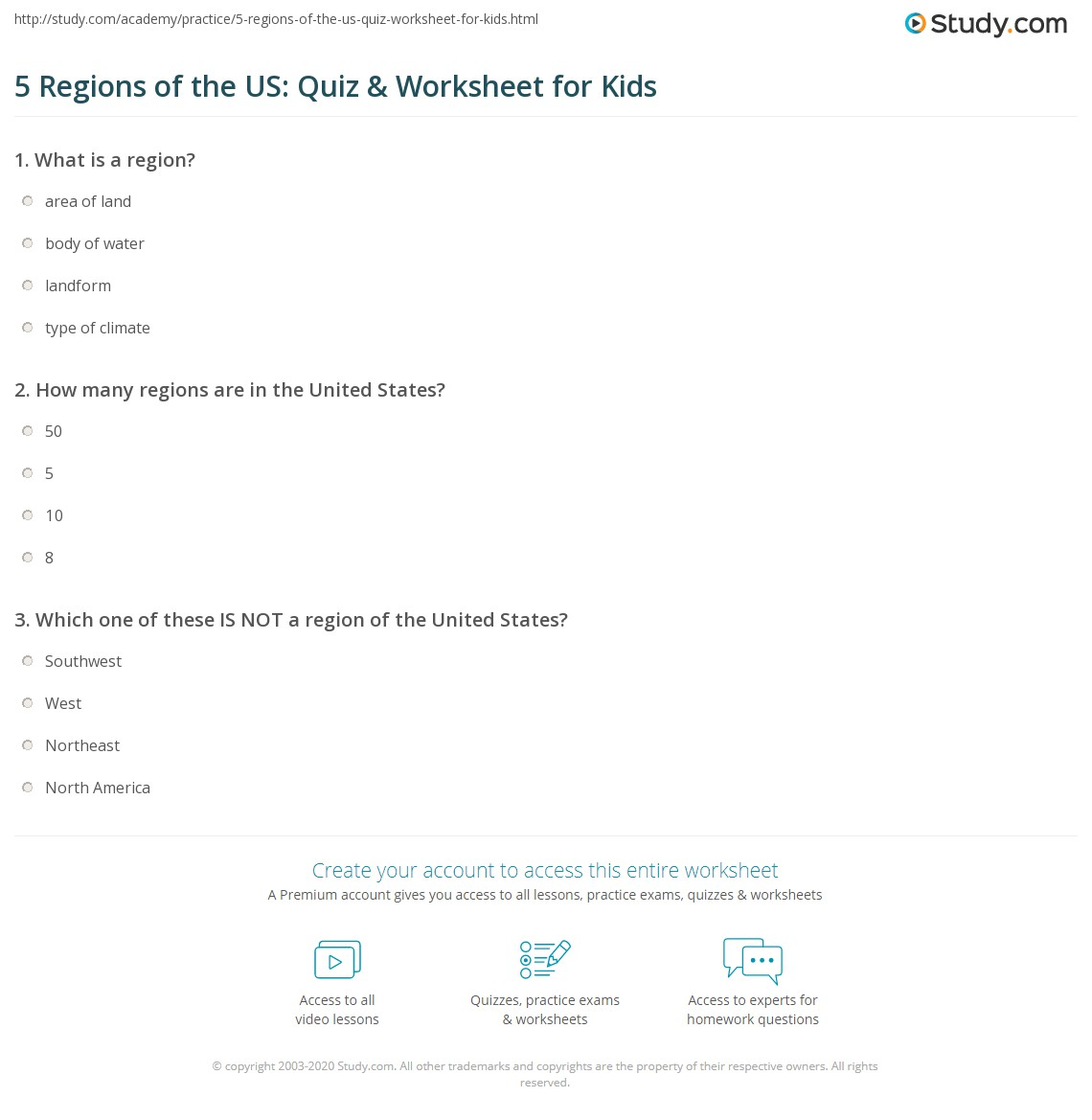5 Regions Of The Us Quiz Amp Worksheet For Kids