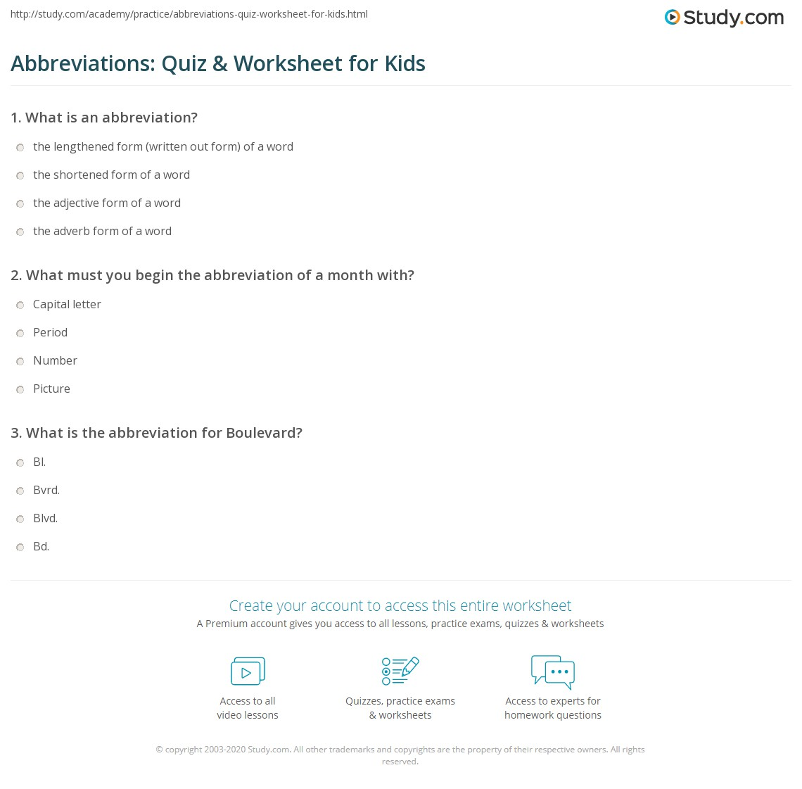 Abbreviations Quiz Amp Worksheet For Kids