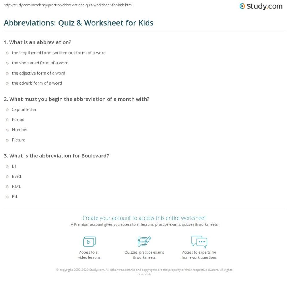 medium resolution of Abbreviations: Quiz \u0026 Worksheet for Kids   Study.com