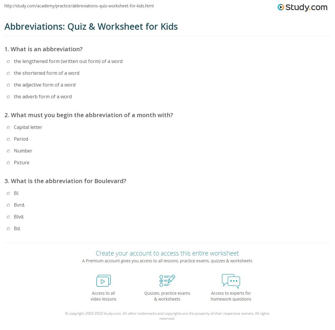 hight resolution of Abbreviations: Quiz \u0026 Worksheet for Kids   Study.com