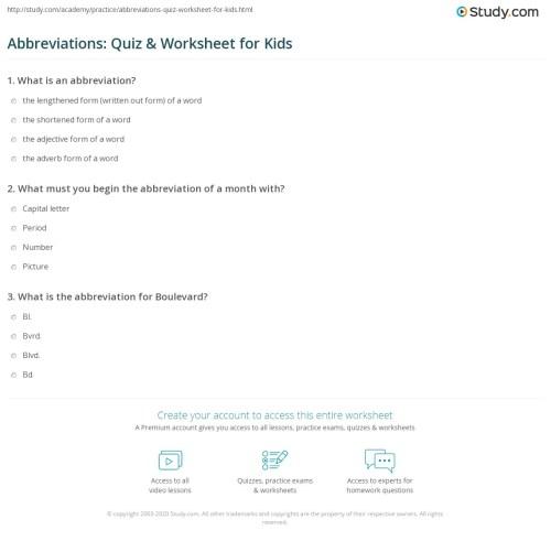 small resolution of Abbreviations: Quiz \u0026 Worksheet for Kids   Study.com