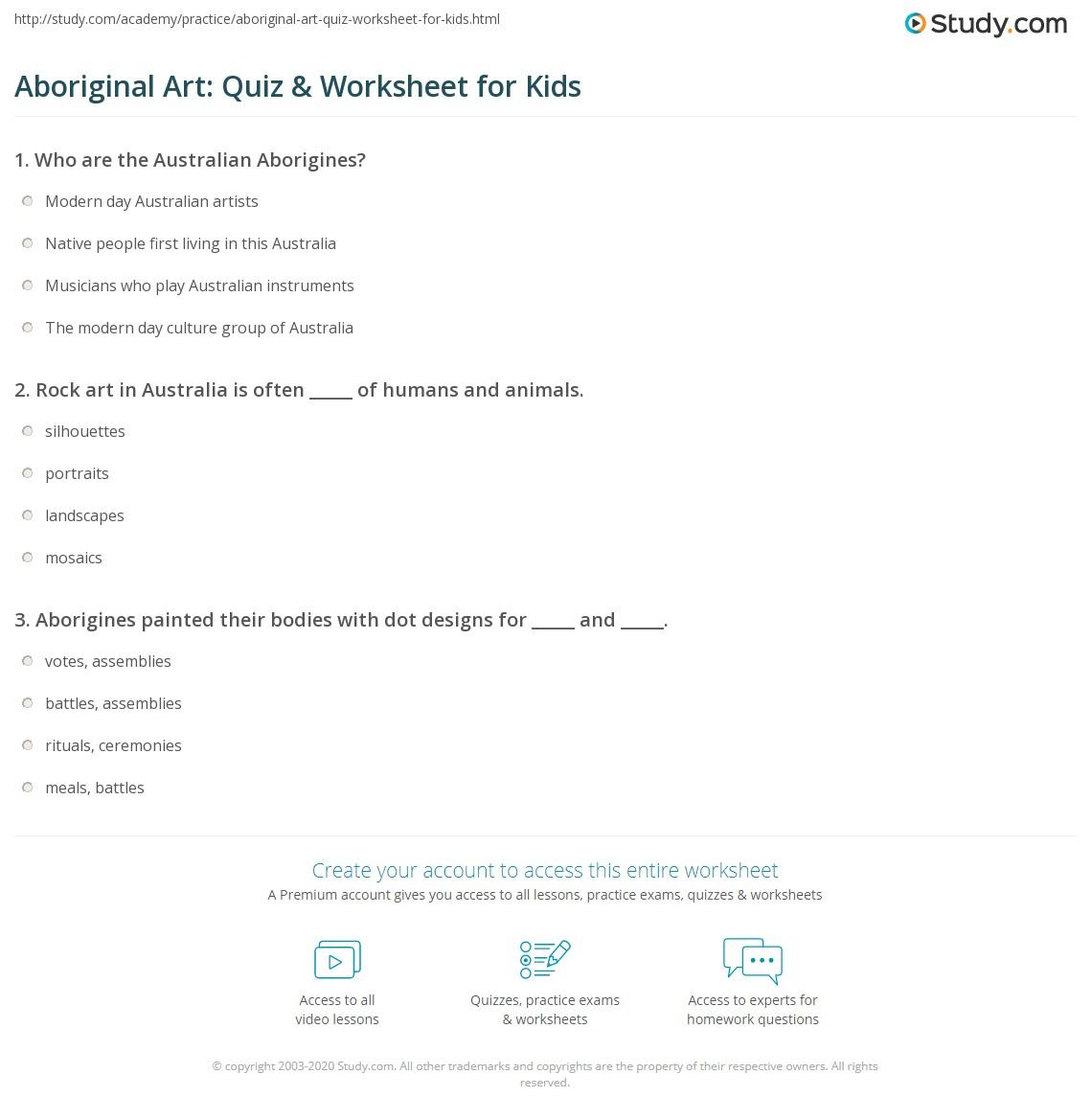Aboriginal Art Quiz Amp Worksheet For Kids