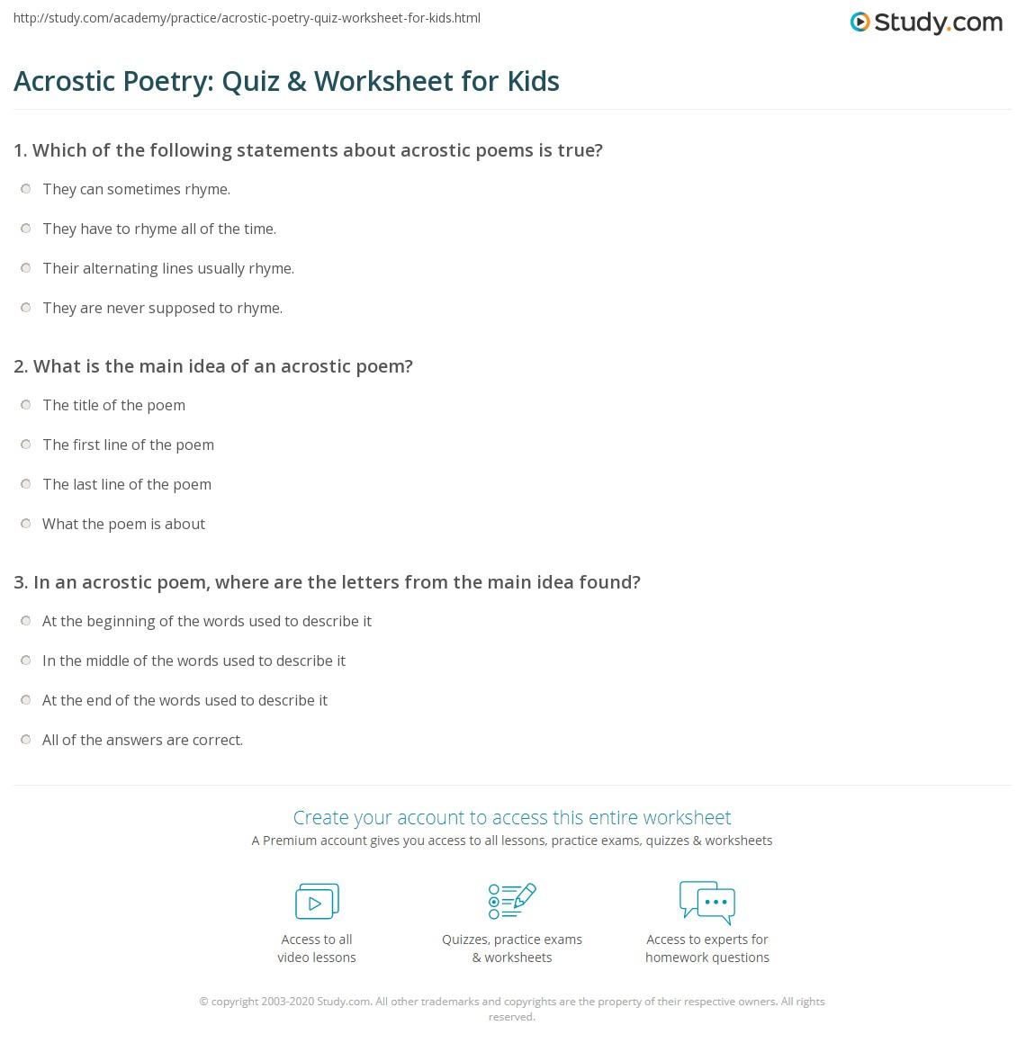 Acrostic Poetry Quiz Amp Worksheet For Kids