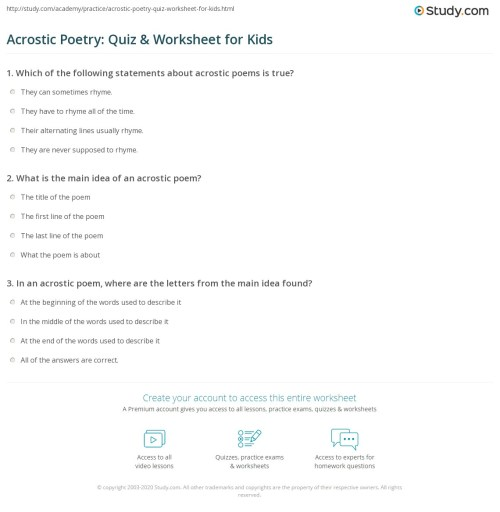 small resolution of Acrostic Poetry: Quiz \u0026 Worksheet for Kids   Study.com