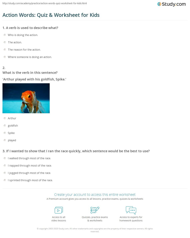 Preschool Worksheet Action Words