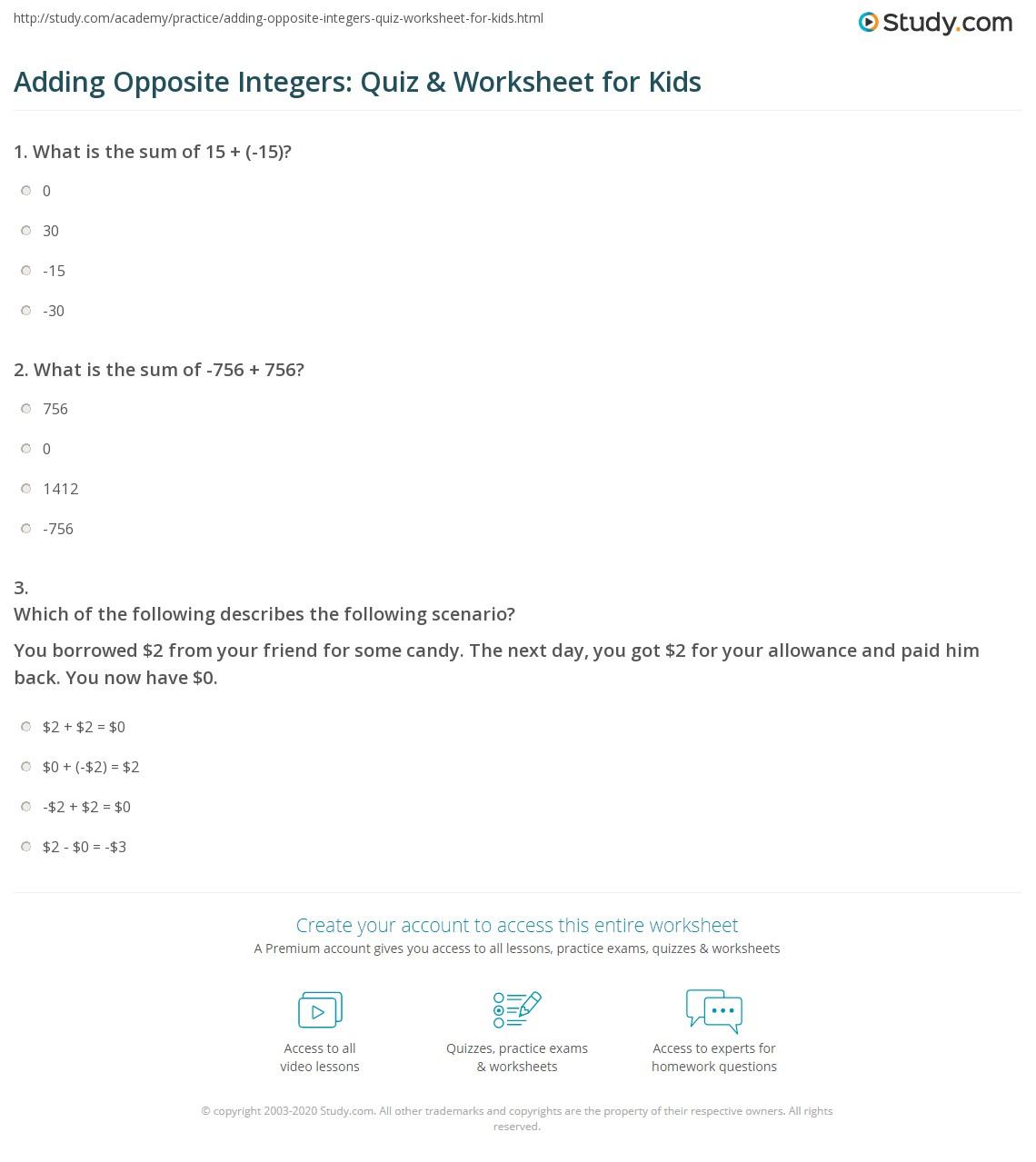 Adding Opposite Integers Quiz Amp Worksheet For Kids