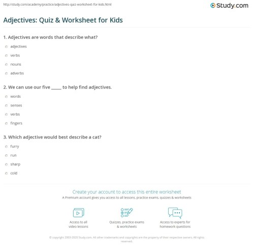 small resolution of Adjectives: Quiz \u0026 Worksheet for Kids   Study.com