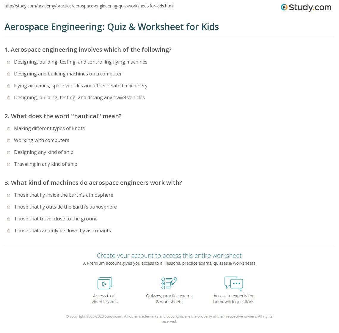 Aerospace Engineering Quiz Amp Worksheet For Kids