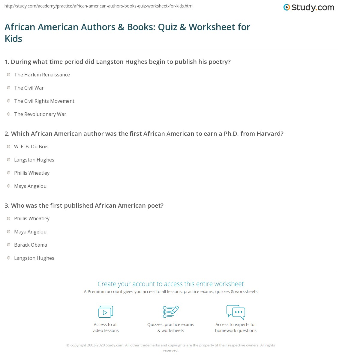 African American Authors Amp Books Quiz Amp Worksheet For