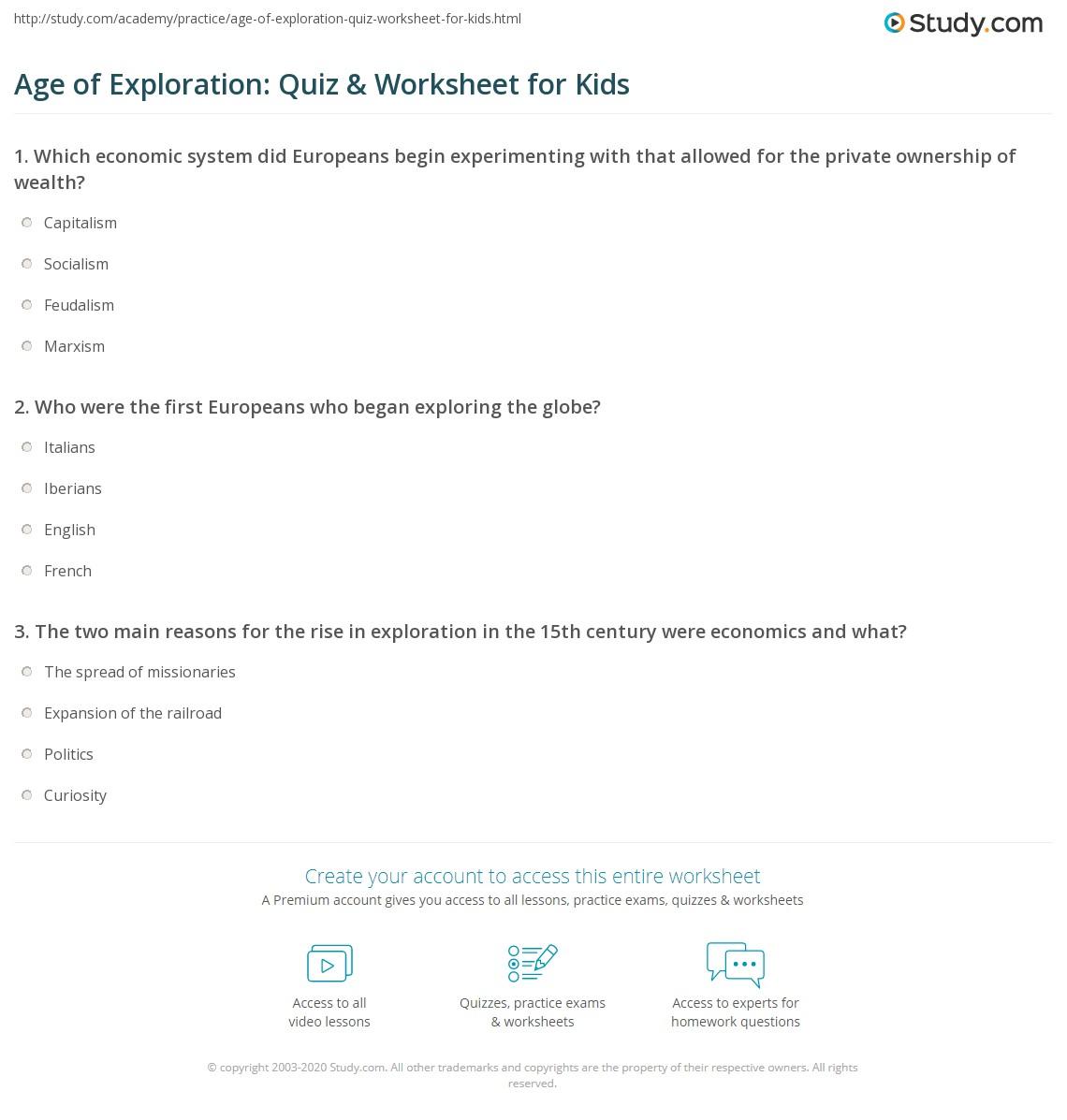Age Of Exploration Quiz Amp Worksheet For Kids