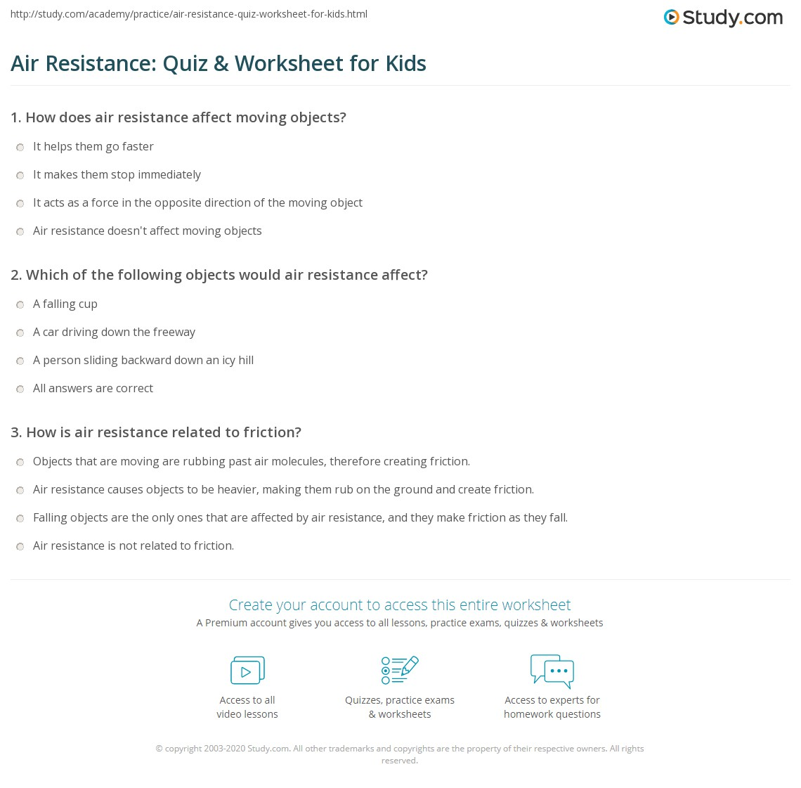 Air Resistance Quiz Amp Worksheet For Kids