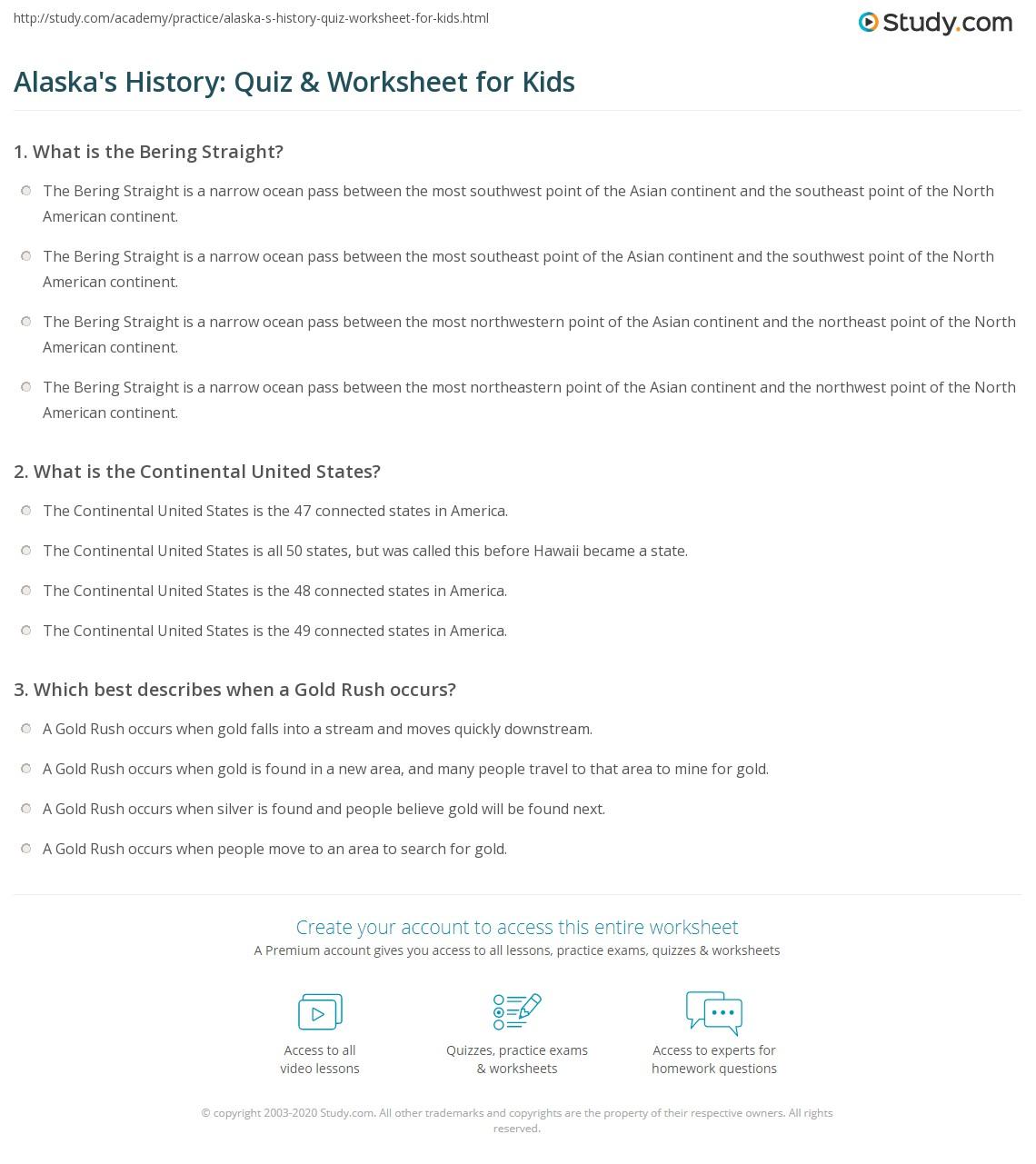 Alaska S History Quiz Amp Worksheet For Kids