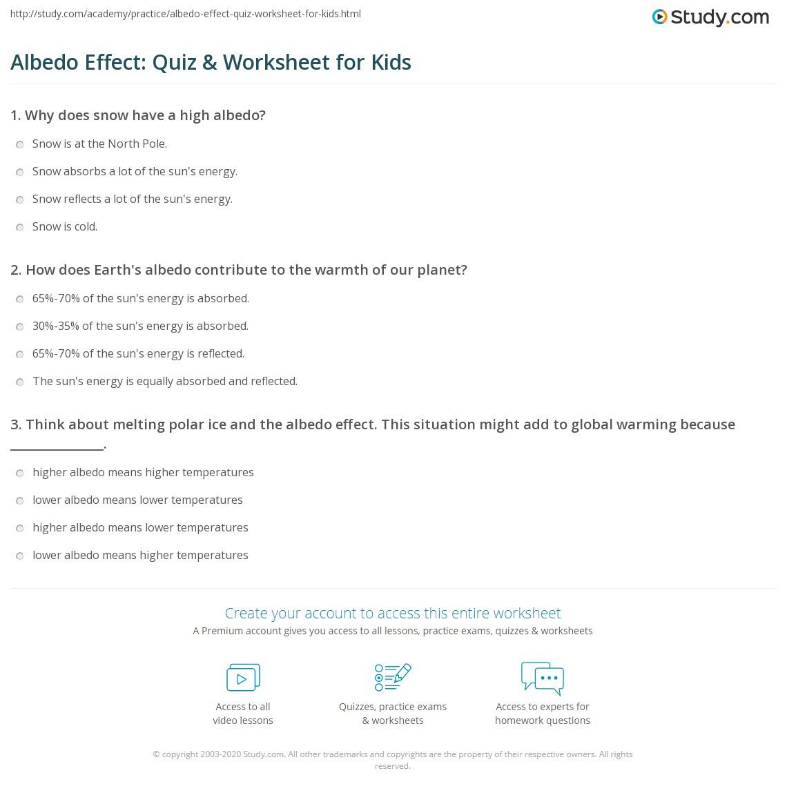 Albedo Effect Quiz Amp Worksheet For Kids