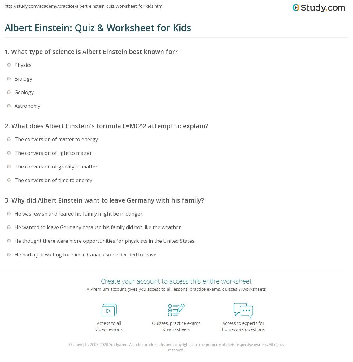 Albert Einstein Quiz Amp Worksheet For Kids