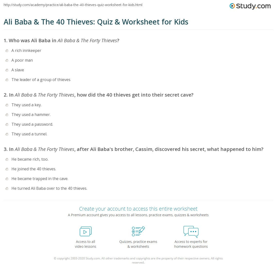 Ali Baba Amp The 40 Thieves Quiz Amp Worksheet For Kids