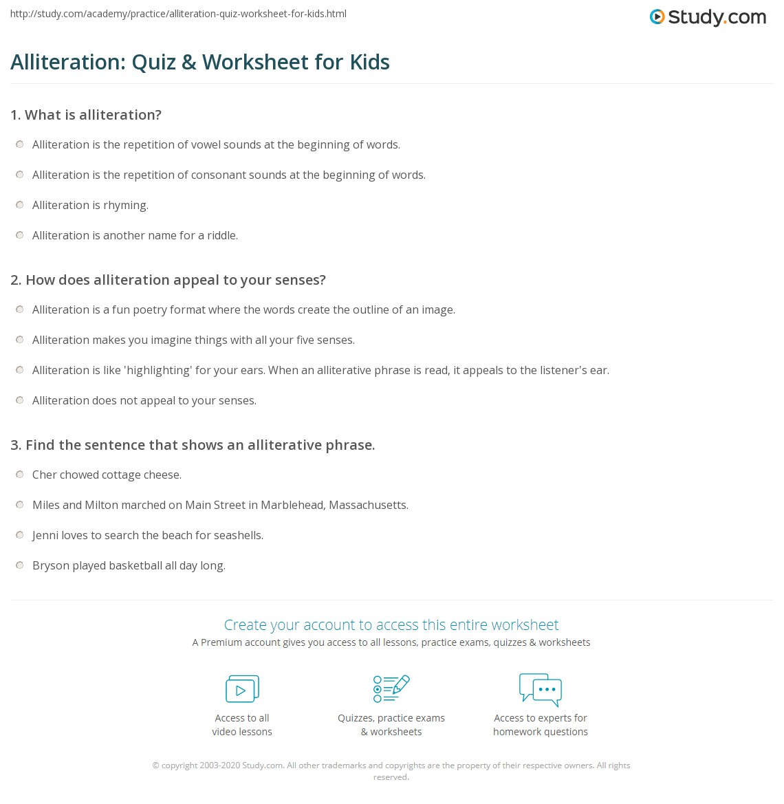 Alliteration Quiz Amp Worksheet For Kids