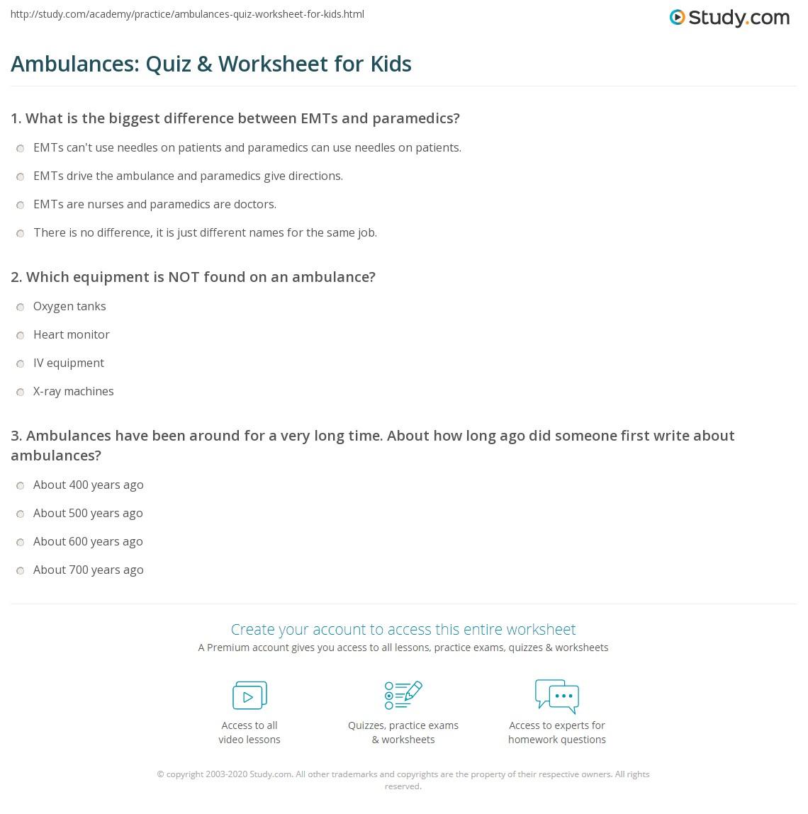Ambulances Quiz Amp Worksheet For Kids