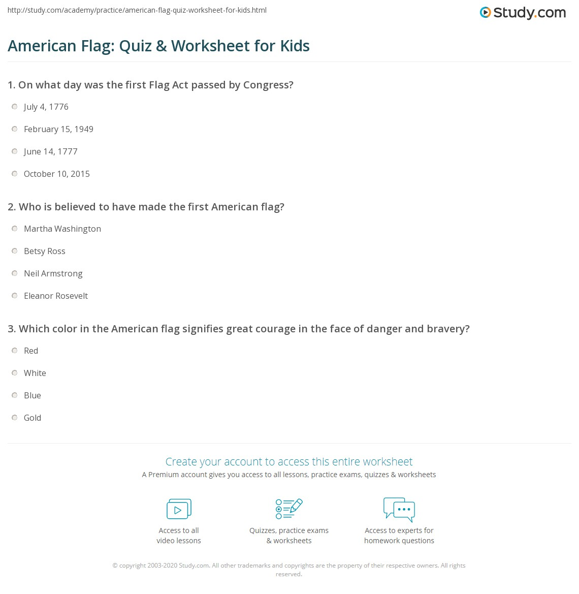 American Flag Quiz Amp Worksheet For Kids