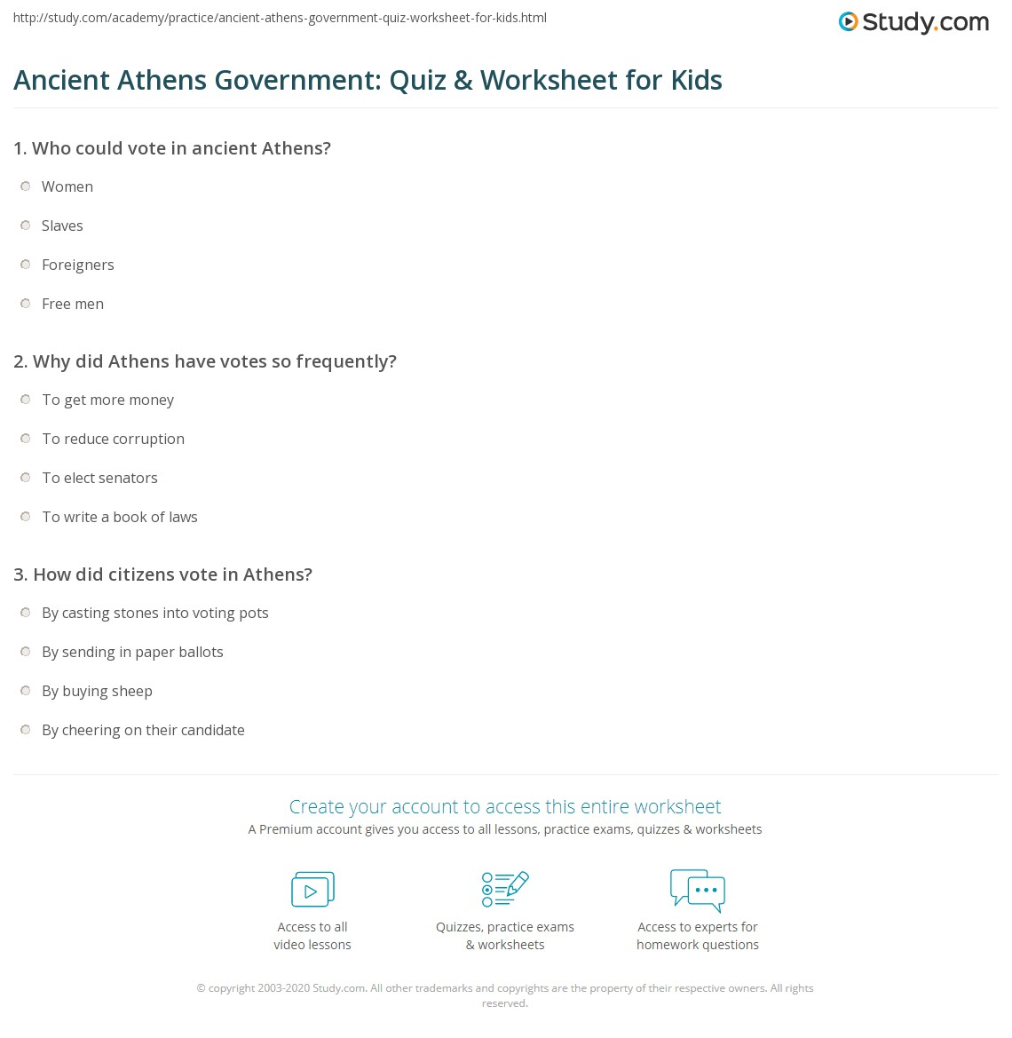 Ancient Athens Government Quiz Amp Worksheet For Kids
